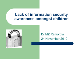 Lack of information security awareness amongst children
