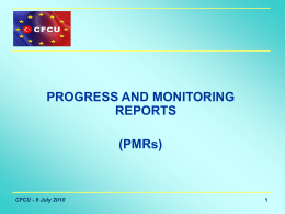 Progress and Monitoring Reports