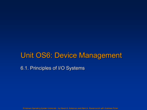 Unit OS 6: Principles of I/O Systems