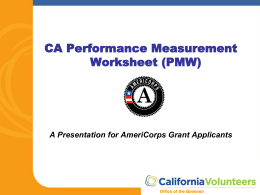 CA Performance Measurement Worksheets Presentation
