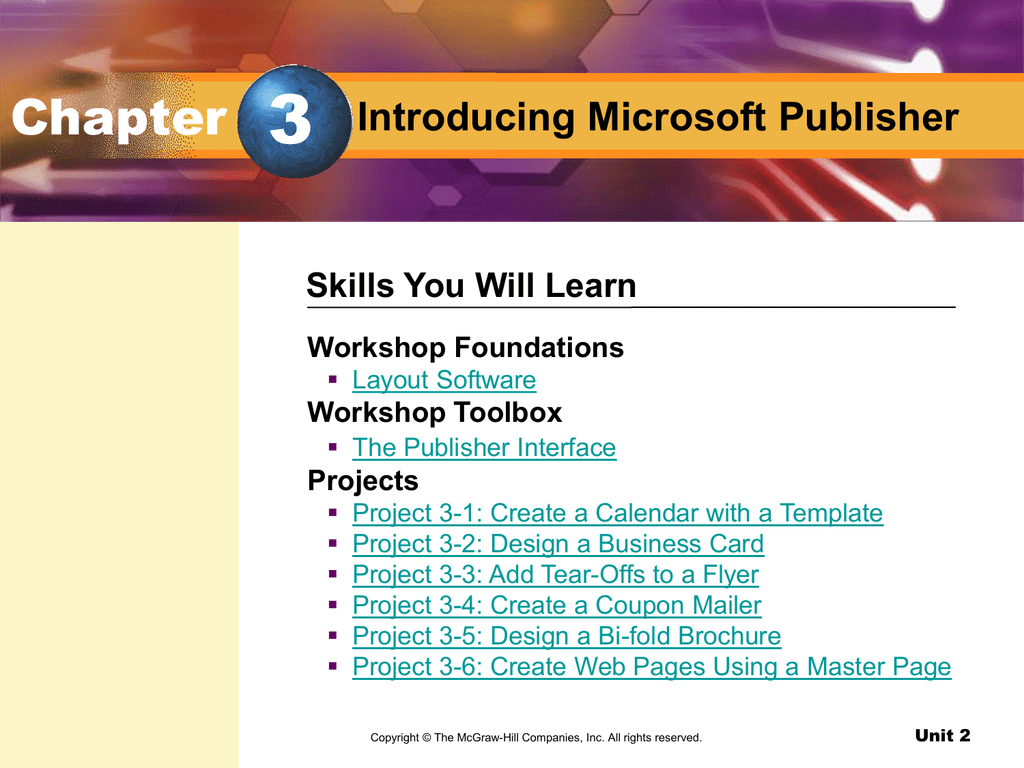 Chapter 3 Introducing Microsoft Publisher Mcgraw