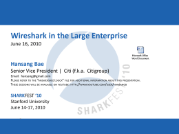 (Bae) CASE STUDY: Wireshark in the Large Enterprise