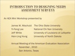 Introduction to Designing Needs Assessment Surveys
