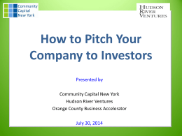OCBA How to Pitch Your Company to Investors