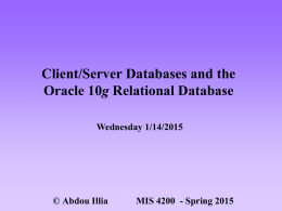 Client/Server DB & Oracle 10g