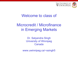 Microcredit / Microfinance - The University of Winnipeg
