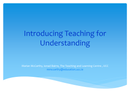 Marian Mc Carthy - Introducing Teaching for Understanding