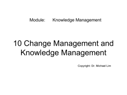 Dr Michael Lim Change Management and Knowledge Management