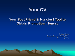 Your CV: Your first, best shot at bolstering chances of promotion &/or