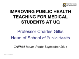 S2.4 Improving public health teaching for medical students at UQ
