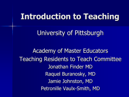 Introduction to Teaching - Academy of Master Educators
