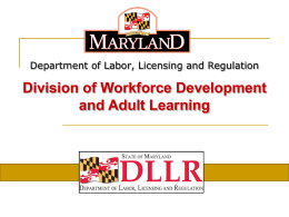 job seekers - Department of Labor, Licensing and Regulation