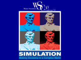 WSC 2013 Final Report - Winter Simulation Conference