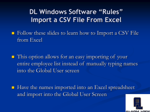 DL Windows Import CSV File Training