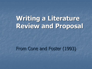 Writing a Literature Review and Proposal