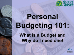 How to create a Personal Budget.