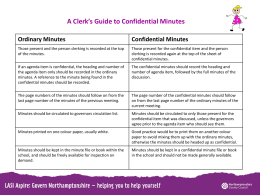 A Clerks Guide to Confidential Minutes