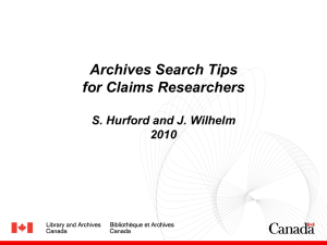 Archives Search Tips for Claims Researchers