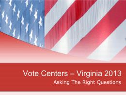 Vote Centers – Virginia 2013
