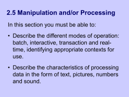Manipulation and/or Processing - Computing and ICT in a Nutshell