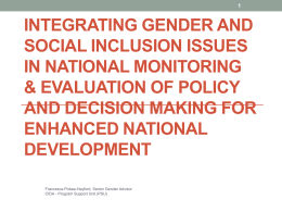 Integrating Gender and Social Inclusion Issues in National M & E