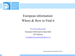 How To Find EU Information, PPT Presentation