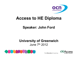 Access to HE grading developments