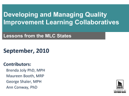 Developing & Managing QI Learning Collaboratives