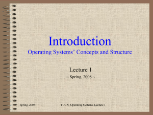 Introduction Operating Systems Concepts and Structure