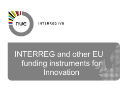 NWE and other EU funds for Innovation