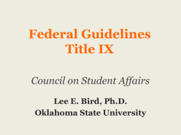 Federal Guidelines, Title IX - Oklahoma State Regents for Higher