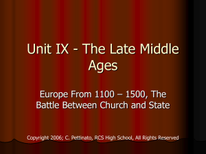 Unit IX - Late Middle Ages