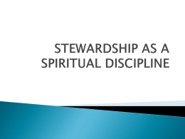 stewardship as a spiritual discipline