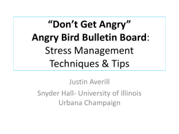 """Don`t Get Angry"" Stress Management Techniques"