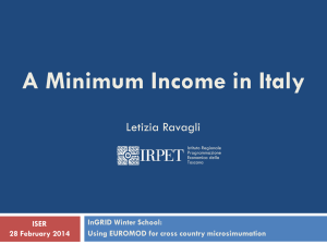 A Minimum Income in Italy Letizia Ravagli