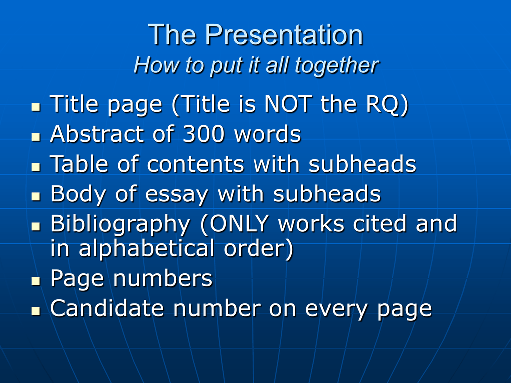 Extended Essay And How To Put It All Together