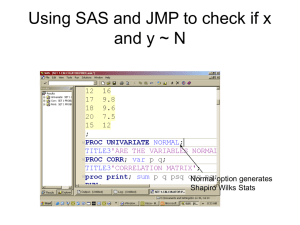 Using SAS and JMP to check if x and y ~ N