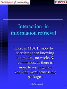 IR interaction - School of Communication and Information