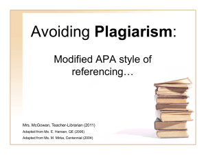 Avoiding Plagiarism - Calgary Board of Education