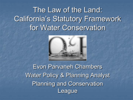 Statutory Framework for Water Authority