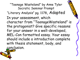 """Teenage Wasteland"" by Anne Tyler Socratic Seminar Prompt"