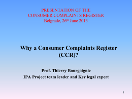Why Consumer Complaint Register?