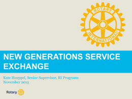 New Generations Service Exchange (NGSE)