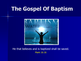 The Gospel Of Baptism