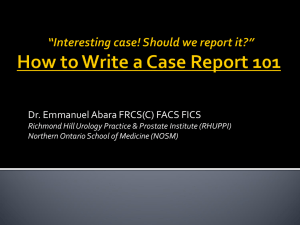 How to Write a Case Report 101 - Northern Ontario School of Medicine