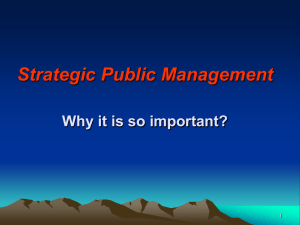 Strategic Public Management: Why it is so important?