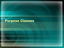Chapter 28 – Purpose Clauses