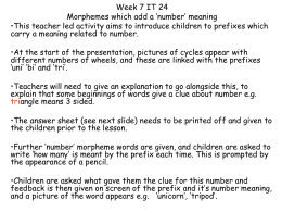 Week 7 IT 24 `Morphemes which add a number meaning`