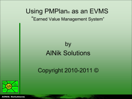 Using PMPlan 4 Enterprise as an EVMS