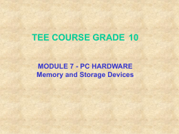 Computer Memory and Storage Devices PPT